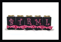 Ready to Ship Black Hot Pink Initial Can Coolers
