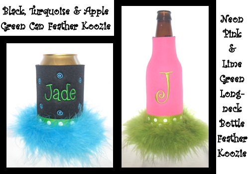 Monogrammed Can Coolers and Bottle Coolers with Feathers