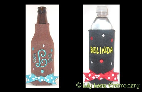 Polka Dot Can and Bottle Coolers
