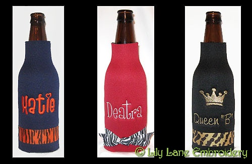 Personalized Longneck Beer Bottle Cooler with Printed Ribbon