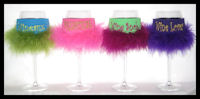 Wine Glass Coolers with Feathers